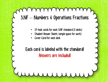 Math Task Cards -- Third Grade Fractions