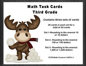 Math Task Cards-Third Grade-Rounding 10's,100's,1,000's-CCSS3.NBT.A.1