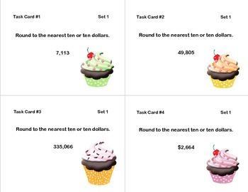 Math Task Cards-Third Grade-Rounding 10's,100's,1,000's-Cupcake Theme