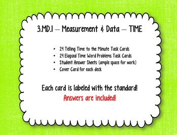 Math Task Cards -- Third Grade Telling Time & Elapsed Time Word Problems