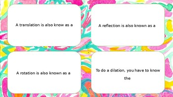 Math Task Cards Transformations