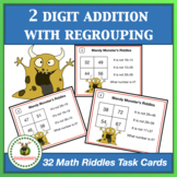 Math Task Cards - Two Digit Addition With Regrouping + Board Game