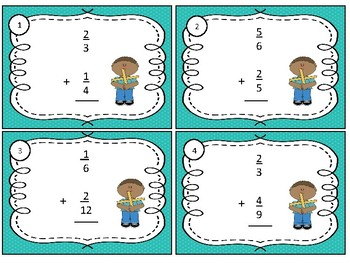 Math Task Cards Use Equivalent Fractions to Add Unlike Denominator Fractions