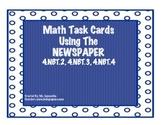 Math Task Cards Using The Newspaper- 4.NBT.2, 4.NBT.3, and 4.NBT.4