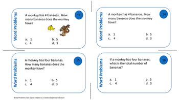 Math Task Cards-Word Problems I-3rd Grade-Differentiation is the Key
