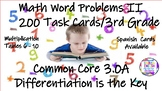 Math Task Cards - Word Problems II - 3rd Grade - Differentiation is the Key