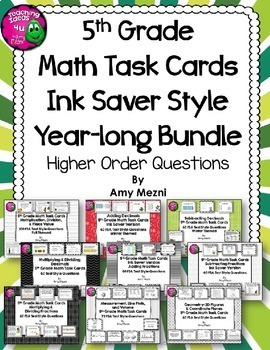 5th Grade Math Task Cards Year-long INK SAVER BUNDLE FSA Style Questions HOTS