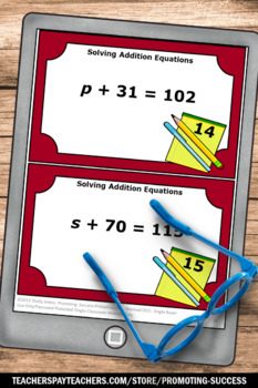 42 Algebra Task Cards and More, Algebraic Equations Algebra 1 Middle School Math