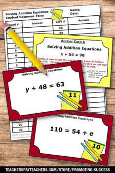42 Algebra Task Cards, 6th Grade Math Review, Algebraic Equations Fifth Grade
