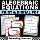 42 Algebra 1 Solving Equations Task Cards, 7th Grade Pre Algebra Review