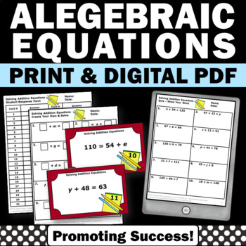 42 Algebra 1 Solving Equations Task Cards, 7th Grade Pre Algebra Review