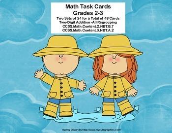 Math Task Cards and Worksheets For Grades 2-3-Spring  Bundle-Regrouping