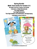 Math Task Cards and Worksheets For Grades 2-3-Spring  Bundle-Regrouping