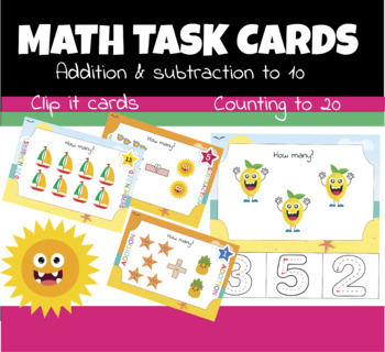 Math Task Cards: clip cards, counting to 20, addition & subtract
