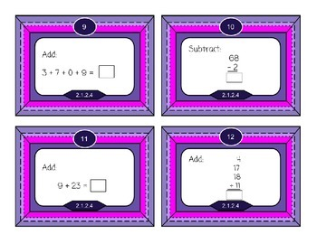 Add & Subtract 2 digit numbers - Math Task Cards for 2nd Grade - 2.1.2.4
