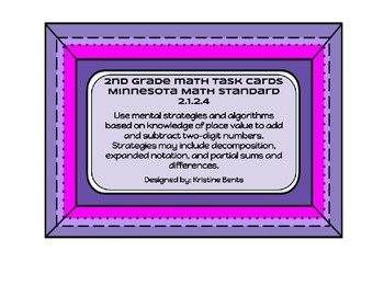 Add & Subtract 2 digit numbers - Math Task Cards for 2nd G