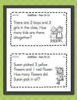 Math Task Cards for First Graders Freebie - Word Problems | TpT