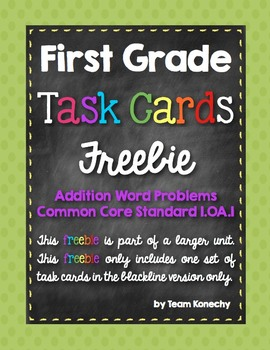 Math Task Cards for First Graders Freebie - Word Problems