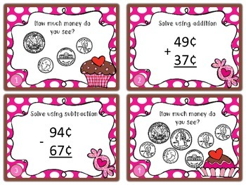 Math Task Cards for Money Review Valentine Theme