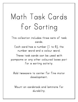 Math Task Cards for Sorting