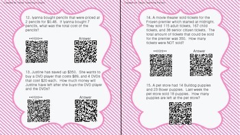 Math Task Cards with QR Codes-STAAR Category 1: Fractions, Decimals, Word Probs