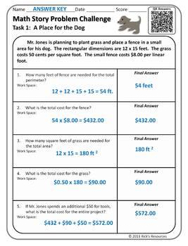 Math Word Problem Challenges - FREE