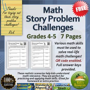 Math Word Problem Challenges Worksheets FREE