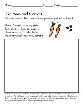 Fun Math Activity - Combinations of 10 Ten - Peas & Carrots - Manipulatives