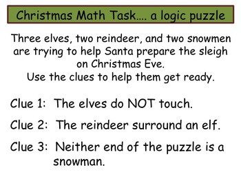 math task logic puzzle christmas theme by swamp frogs tpt. Black Bedroom Furniture Sets. Home Design Ideas