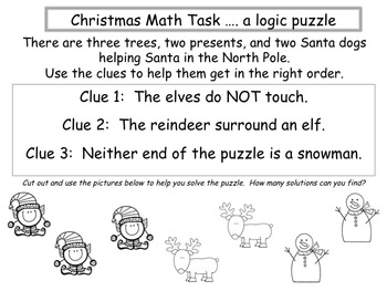 Math Task Logic Puzzle:  Christmas Theme