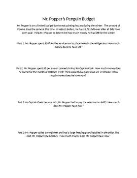 Math Task for Mr. Popper's Penguins Book Study