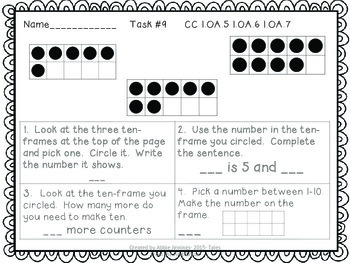Math Tasks- 1st Grade- Set 1