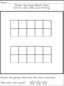 Math Tasks for Kindergarten-Sorting and Comparing Numbers