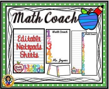 """Math Teacher"" Notepad Sheets Set {Editable}"
