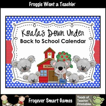 Math Teacher Resource--Koalas Down Under Back to School Calendar