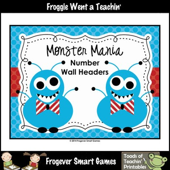"Number Wall Posters/Headers--Number Sense ""Monster Mania"" (blue)"