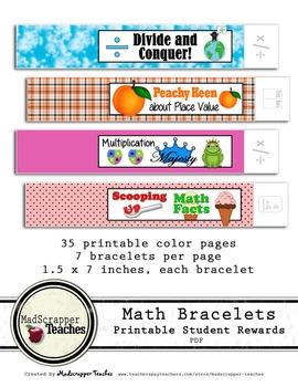 Math Teacher Reward Bracelets Printable Bracelets