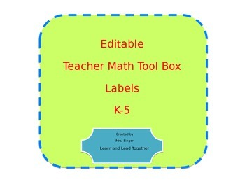Math Teacher Toolkit Labels