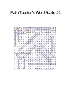 Math Teacher's Word Puzzle #1: Plane Geometry