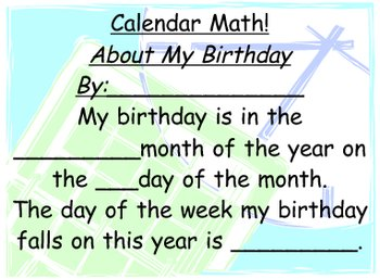 Math Teaching The Calendar/ Concept of Time Unit Chart Sign Activity
