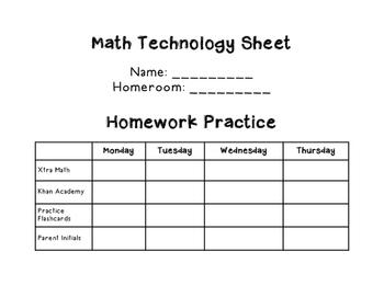 Math Technology Sheet