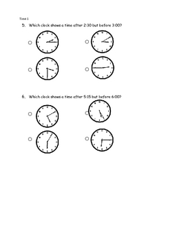 Math-Telling Time pre-post assessment pages (ITBS style)