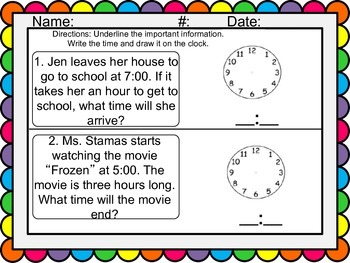 Math Telling Time to the Hour Worksheets