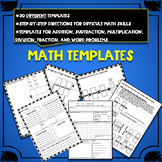 Math Templates and Graphic Organizers