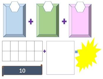 Math Ten Frame Addition Game Board