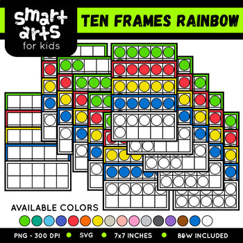 Math Ten Frames Rainbow Clip Art