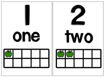 Math Tens Frame Posters {Green Apple Clipart}