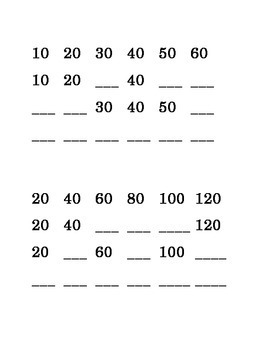 Math Ten's Twenty's Kindergarten Fill in the Blank