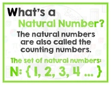 Math Terms & Definitions - Colorful Math Posters - NATURAL NUMBER