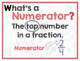 Math Terms & Definitions - Colorful Math Posters - NUMERATOR